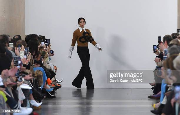Fashion designer Victoria Beckham walks the runway after her show during London Fashion Week February 2019 on February 17, 2019 in London, England.