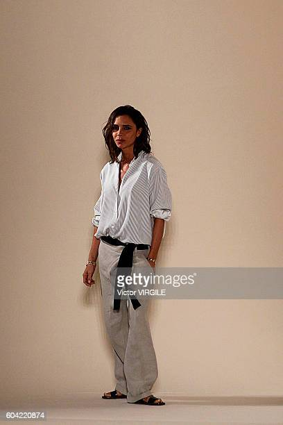 Fashion designer Victoria Beckham walks the runway at the Victoria Beckham Ready to Wear Spring Summer Ready to Wear 2017 Women's Fashion Show during...