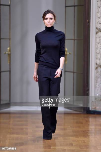 Fashion designer Victoria Beckham walks the runway finale at the Victoria Beckham Autumn Winter 2018 fashion show during New York Fashion Week on...