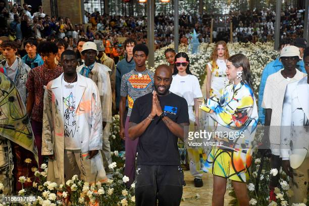 Fashion designer Virgil Abloh and Gigi Hadid walks the runway during the OffWhite Menswear Spring Summer 2020 show as part of Paris Fashion Week on...
