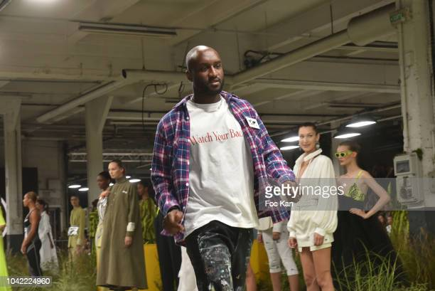 Fashion designer Virgil Abloh and models walk the runway during the Off White show as part of Paris Fashion Week Womenswear Spring/Summer 2019 on...