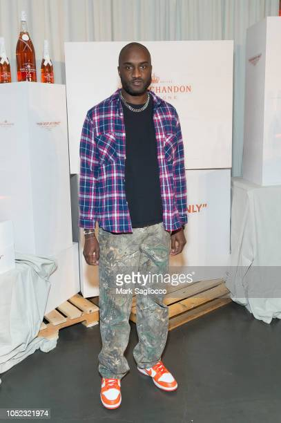 Fashion Designer Virgil Abloh attends Moet Chandon and Virgil Abloh's New Bottle Collaboration Launch at The New Museum on October 16 2018 in New...