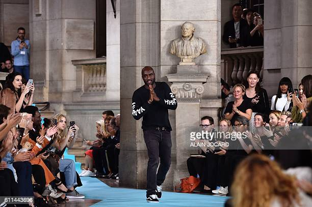 Fashion designer Virgil Abloh for Offwhite acknowledges the audience at the end of the 2017 Spring/Summer readytowear collection fashion show on...