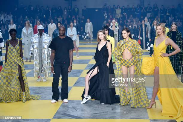Fashion designer Virgil Abloh, Gigi Hadid, Bella Hadid, Karlie Kloss and models walk the runway during the Off-White show as part of the Paris...