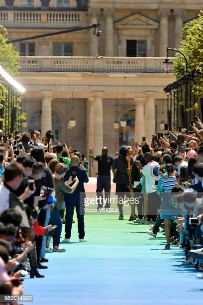 Fashion designer Virgil Abloh walks the runway during the Louis Vuitton Menswear Spring/Summer 2019 fashion show as part of Paris Fashion Week on...