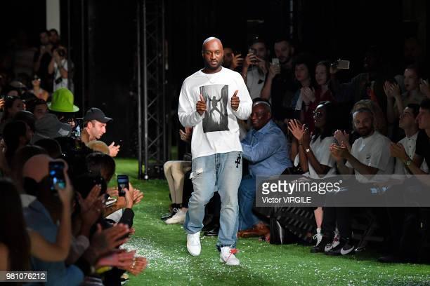Fashion designer Virgil Abloh walks the runway during the OffWhite Menswear Spring/Summer 2019 fashion show as part of Paris Fashion Week on June 20...