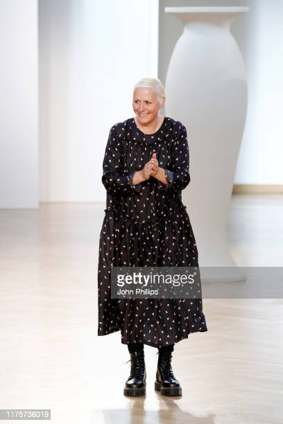 Fashion designer Vivetta Ponti acknowledges tha applause of the audience at the Vivetta show during the Milan Fashion Week Spring/Summer 2020 on...