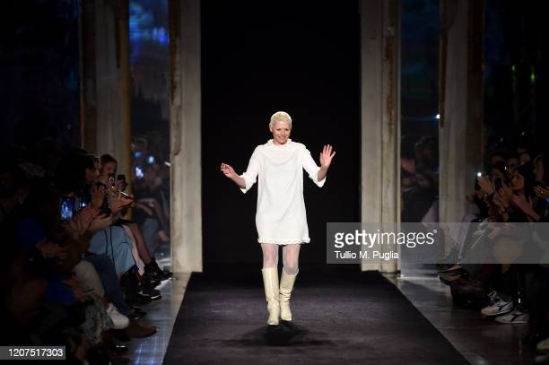 Fashion designer Vivetta Ponti acknowledges the applause of the audience during the Vivetta fashion show as part of Milan Fashion Week Fall/Winter...