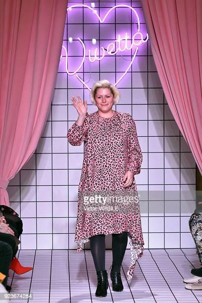 Fashion designer Vivetta Ponti walks the runway at the Vivetta Ready to Wear Fall/Winter 2018-2019 fashion show during Milan Fashion Week Fall/Winter...