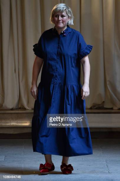 Fashion designer Vivetta Ponti walks the runway at the Vivetta show during Milan Fashion Week Spring/Summer 2019 on September 20, 2018 in Milan,...