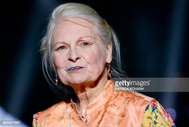 Fashion designer Vivienne Westwood acknowledges the audience at the end of the women's 2018 Spring/Summer readytowear collection fashion show in...