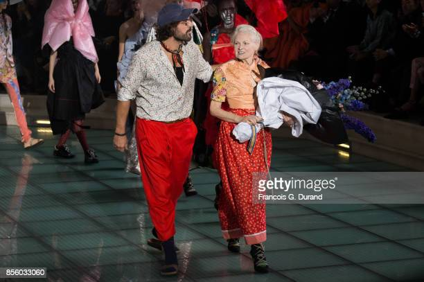 Fashion designer Vivienne Westwood and Andreas Kronthaler walk the runway during the Vivienne Westwood show as part of the Paris Fashion Week...