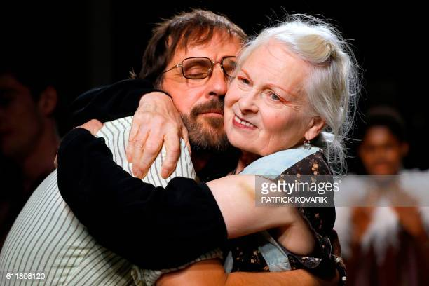 Fashion designer Vivienne Westwood and her husband Andreas Kronthaler kiss at the end of the 2017 Spring/Summer ready-to-wear collection fashion show...