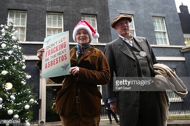 Fashion designer Vivienne Westwood and her son Joe Corre pose for a photograph as they deliver an antifracking letter at 10 Downing Street on...