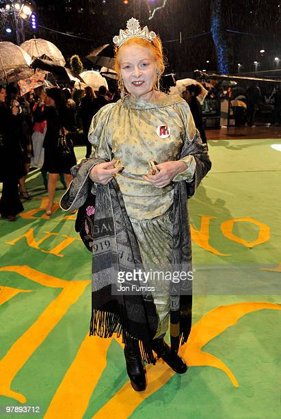 Fashion designer Vivienne Westwood attends the Royal World Premiere of Tim Burton's 'Alice In Wonderland' at the Odeon Leicester Square on February...