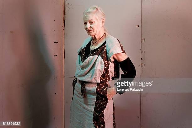 Fashion Designer Vivienne Westwood poses prior the Vivienne Westwood show as part of the Paris Fashion Week Womenswear Spring/Summer 2017 on October...