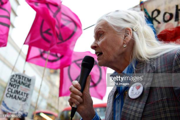 Fashion designer Vivienne Westwood speaks in the Extinction Rebellion Carnival of Chaos protest at the embassy of Brazil in London Extinction...