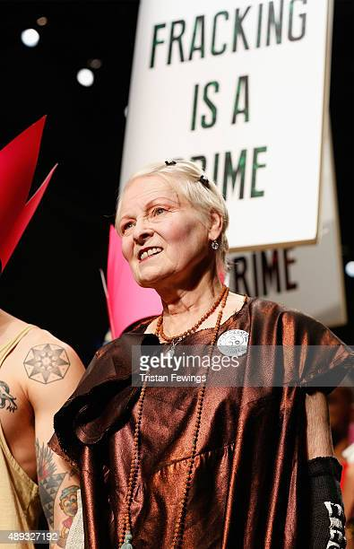 Fashion designer Vivienne Westwood walks the runway after her Red Label show during London Fashion Week Spring/Summer 2016 on September 20 2015 in...