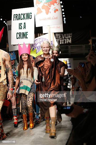 Fashion designer Vivienne Westwood walks the runway after her Red Label show during London Fashion Week Spring/Summer 2016 on September 20 2015 in...