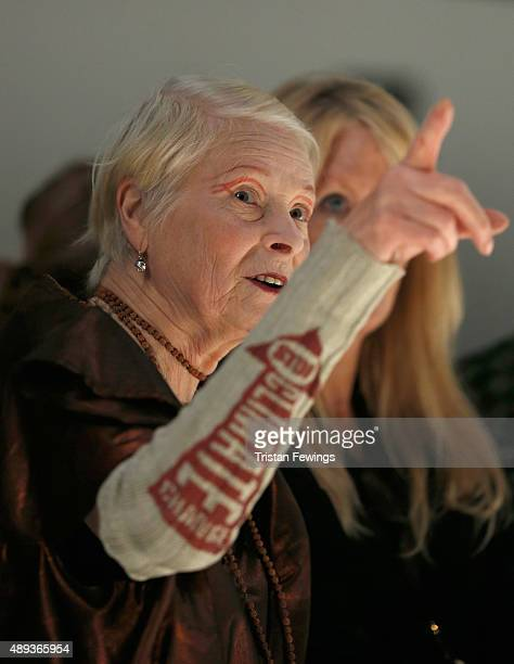 Fashion designer Vivienne Westwood watches rehearsals ahead of her Red Label show during London Fashion Week Spring/Summer 2016 on September 20 2015...