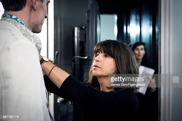 Fashion designer Véronique Nichanian is photographed backstage at the Hermès Spring/Summer 2015 Men's collection fashion show for Madame Figaro on...