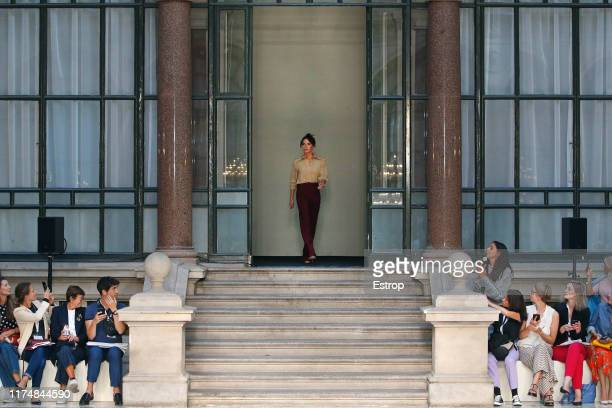 Fashion designer walks the runway Victoria Beckham at the Victoria Beckham show during London Fashion Week September 2019 at the British Foreign and...