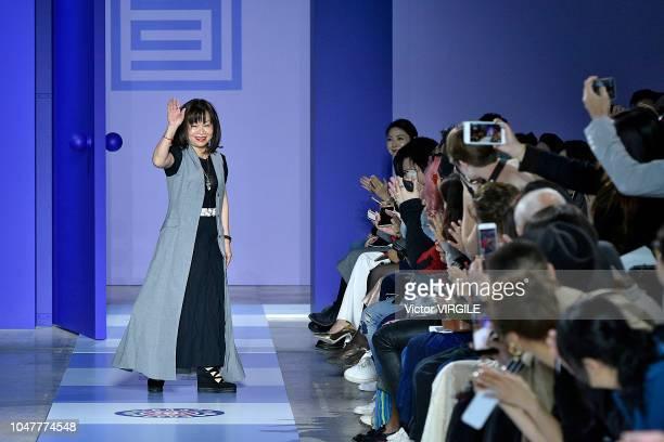 Fashion designer Wang Chen TsaiHsia walks the runway during the Shiatzy Chen Ready to Wear fashion show as part of the Paris Fashion Week Womenswear...
