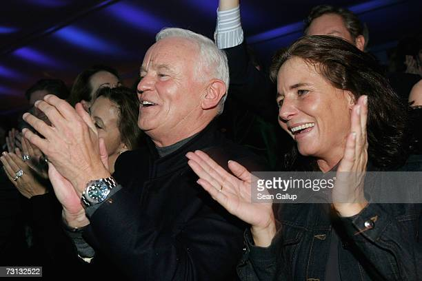 Fashion designer Werner Baldessariniand his wife Cathrin dance at the Kitz Race Party after the Hahnenkamm slalom races January 27, 2007 in...
