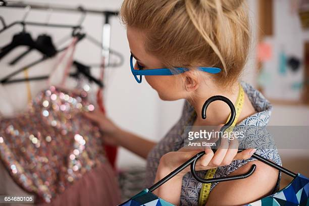 Fashion designer with stylish dresses. Debica, Poland