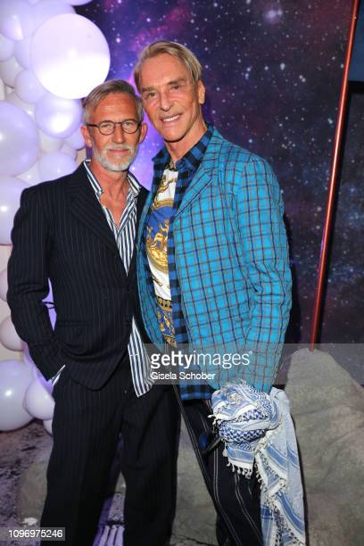 Fashion designer Wolfgang Joop and his husband Edwin Lemberg during the PLACE TO B Berlinale party of BILD at Borchardt Restaurant on February 9 2019...