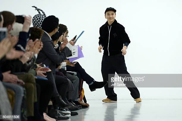 Fashion designer Xander Zhouis seen on the runway at the Xander Zhou show during The London Collections Men AW16 at Victoria House on January 11 2016...