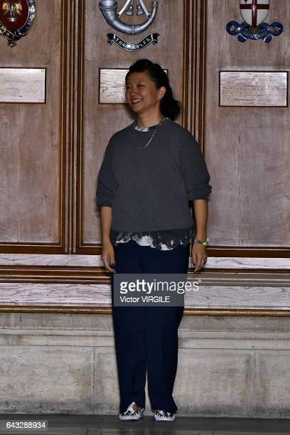 Fashion designer Yasuko Furuta walks the runway at the TOGA Ready to Wear Fall Winter 20172018 fashion show during the London Fashion Week February...