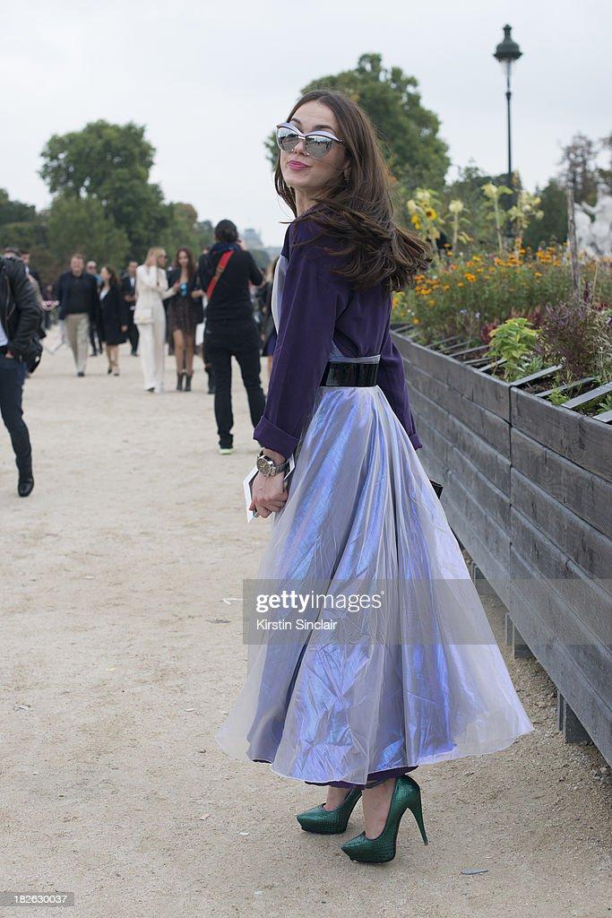 Fashion designer Yasya Minochkina wears her own design top and dress on day 7 of Paris Fashion Week Spring/Summer 2014, Paris September 30, 2013 in Paris, France.