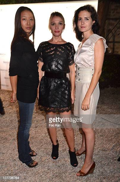 Fashion designer Yiqin Yin and actresses Anne Marivin and Chloe Lambert attend the Peroni Nastro Azzuro Beer Cocktail Party at the Italian Embassy on...