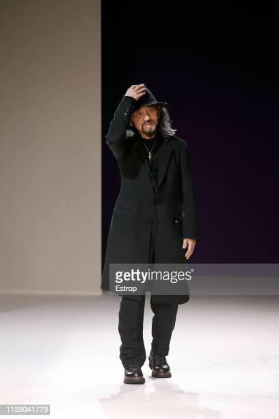 Fashion designer Yohji Yamamoto at the Yohji Yamamoto show at Paris Fashion Week Autumn/Winter 2019/20 on March 1, 2019 in Paris, France.