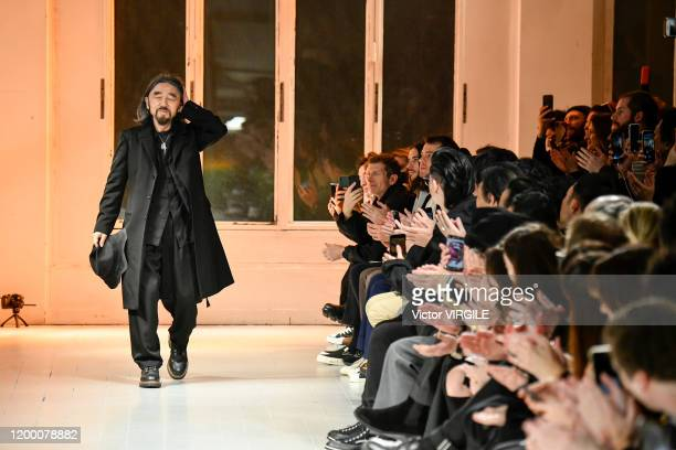 Fashion designer Yohji Yamamoto walks the runway at the Yohji Yamamoto Menswear- Fall Winter 2021/2021 fashion show as part of the Paris Menswear...