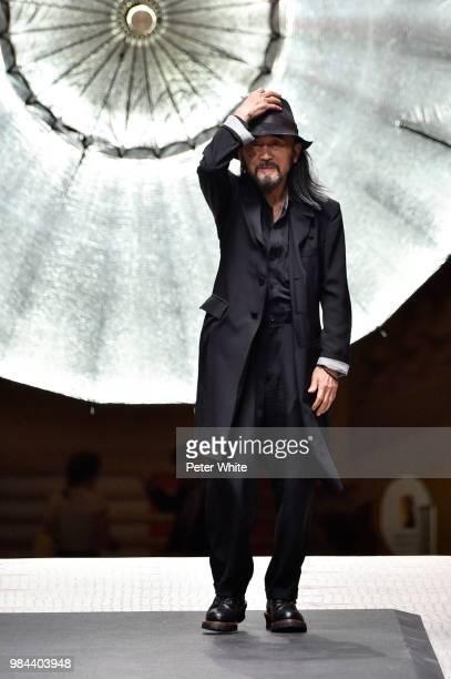 Fashion designer Yohji Yamamoto walks the runway during the Y-3 Menswear Spring/Summer 2019 show as part of Paris Fashion Week on June 24, 2018 in...