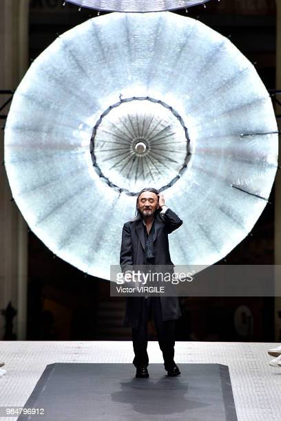 Fashion designer Yohji Yamamoto walks the runway during the Y-3 Menswear Spring/Summer 2019 fashion show as part of Paris Fashion Week on June 24,...
