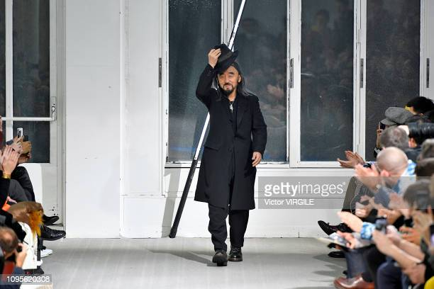 Fashion designer Yohji Yamamoto walks the runway during the Yohji Yamamoto Menswear Fall/Winter 2019-2020 fashion show as part of Paris Fashion Week...