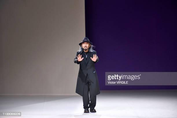 Fashion designer Yohji Yamamoto walks the runway during the Yohji Yamamoto Ready to Wear fashion show as part of the Paris Fashion Week Womenswear...