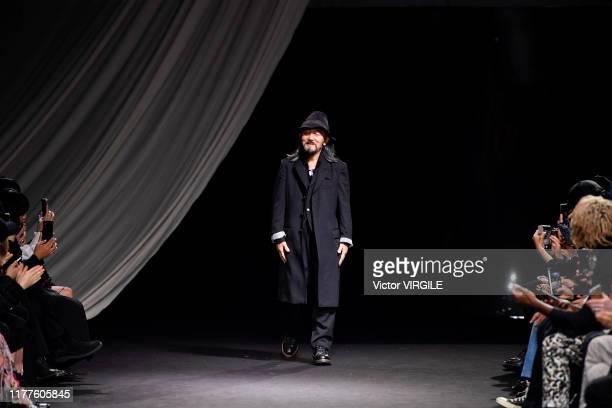 Fashion designer Yohji Yamamoto walks the runway during the Yohji Yamamoto Ready to Wear Spring/Summer 2020 fashion show as part of Paris Fashion...