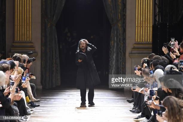 Fashion designer Yohji Yamamoto walks the runway during the Yohji Yamamoto Ready to Wear Spring/Summer 2022 fashion show as part of the Paris Fashion...