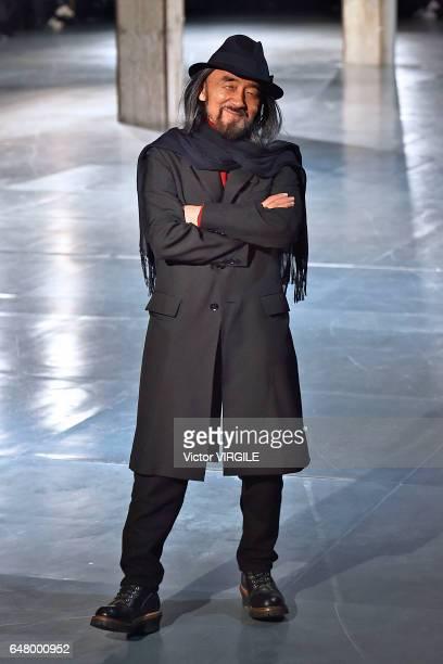 Fashion designer Yohji Yamamoto walks the runway during the Yohji Yamamoto show as part of the Paris Fashion Week Womenswear Fall/Winter 2017/2018 on...