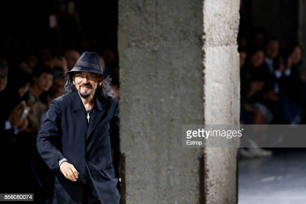 Fashion designer Yohji Yamamoto walks the runway during the Yohji Yamamoto show as part of the Paris Fashion Week Womenswear Spring/Summer 2018 on...