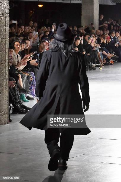 Fashion designer Yohji Yamamoto walks the runway during the Yohji Yamamoto Ready to Wear Spring/Summer 2018 fashion show as part of the Paris Fashion...