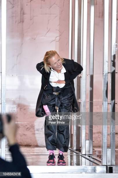 Fashion designer Yolanda Zobel walks the runway after the Courreges show as part of the Paris Fashion Week Womenswear Spring/Summer 2019 on September...
