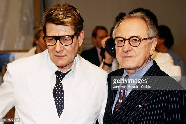 Fashion designer Yves Saint Laurent and partner Pierre Berge backstage after the Spring Summer Womenswear fashion show.