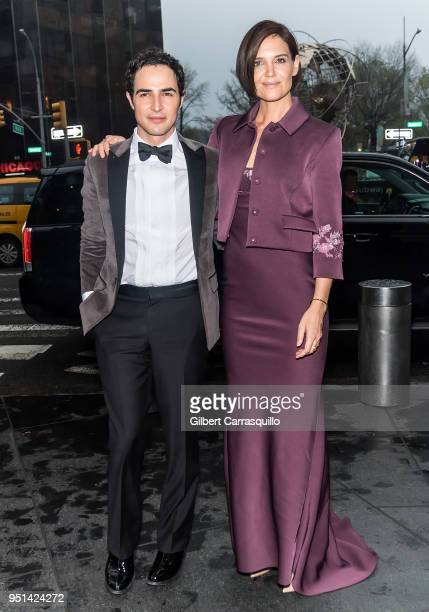 Fashion designer Zac Posen and actress Katie Holmes are seen arriving to the Brooks Brothers Bicentennial Celebration at Jazz at Lincoln Center on...