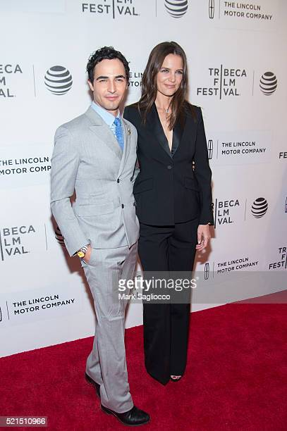 "Fashion Designer Zac Posen and Actress Katie Holmes attend the ""All We Had"" World Premiere - 2016 Tribeca Film Festival at the John Zuccotti Theater..."