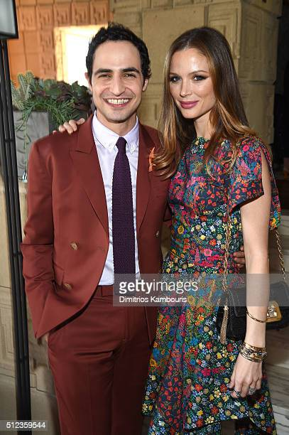 Fashion designer Zac Posen and cofounder designer of Marchesa Georgina Chapman attend MAC Cosmetics Zac Posen luncheon at the Ennis House hosted by...